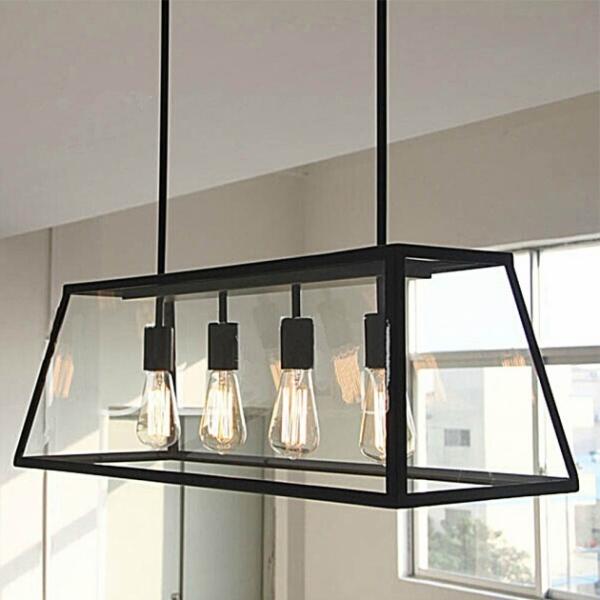 復古工業風玻璃箱餐吊燈 2