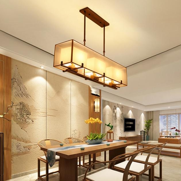 新中式雙層長形紗罩餐吊燈 2