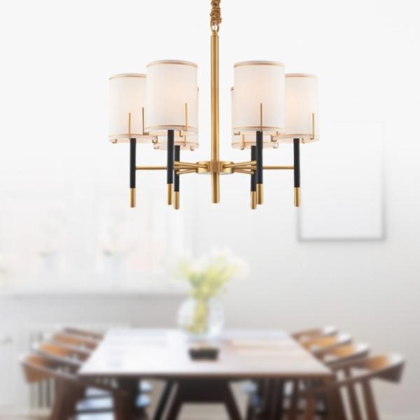 後現代黑金直筒吊燈-6燈 1