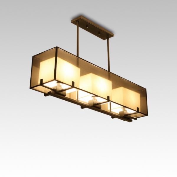 新中式雙層長形紗罩餐吊燈 1